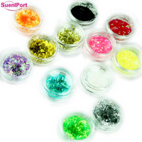 ingrosso trasferimento di porte-Sune l Port 12 colori / set Nail Strip Nails Gliters DIY Nail Art Multicolor Adesivo Transfer Sticker Manicure Decorazioni d'arte