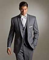 Wholesale Mens Grey Dress Pants - High Quality One Button Grey Groom Tuxedos Notched Lapel Groomsmen Mens Wedding Party Dresses Prom Suits (Jacket+Pants+Vest) Custom Made