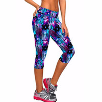 Wholesale Women Capri Tights - 8 color capri pants women leggings fitness workout sport yoga pants running tights jogging trousers skinny fitted stretch
