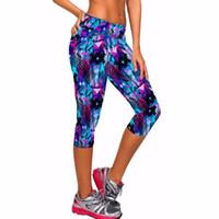 Wholesale yoga pant capri - 8 color capri pants women leggings fitness workout sport yoga pants running tights jogging trousers skinny fitted stretch