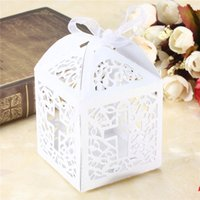 Wholesale Recycle Pc - Wholesale- 10 Pcs lot Ribbon Wedding Favors Candy Hollow Boxes For Wedding Party Gift box White