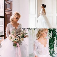 Wholesale indian wedding gowns dresses for sale - Group buy Lace Country Wedding Dresses With Sleeve V Neck Tiered Tulle Indian Wedding Dresses Winter Royal Low Back Bridal Gown