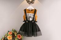 Wholesale Girls Character Tops - Summer Fashion Children Girls Clothing set Cotton Top +Straps TUTU Skirt 2 PCS Clothes Suits 5s l