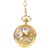 Wholesale watch animals resale online - Animal Dial Pendant Necklace Chain Quartz Case Diamater CM Horse Pocket Watch PW091
