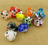perlas de cristal de murano joyas al por mayor-ANIMAL LINDO Encantos de cristal de murano Lágrimas de espaciador sueltas PARA PULSERA DE LA JOYERÍA
