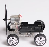 Wholesale Force Wind - Lis Power-driven car toy Wind Power winf-force 2 airscrew assembling electric toy car handmade model Children's toys kids gifts