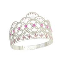 Wholesale Stone Hair Headband - Crown Miss Teen USA Pink colour CZ Stone Rhinestone Crystal Adjustable Headband Bridal Wedding Hair Jewelry Tiaras Pageant Queen Crown Mo237