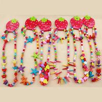 ingrosso accessori gioielli diy-Fai da te perline collana gioielli per bambini perline colorate collana + bracciali 2 pezzi / set ragazze accessori per feste di Natale C3179