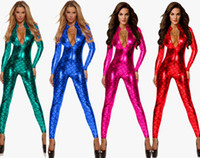 spandex clubwear kleider groihandel-Erwachsene Frauen Pole Dance Meerjungfrau Kostüm Wetlook Leder Body PU Overall Vinyl PVC Catsuit Faux Latex Kleid Clubwear Dessous