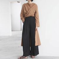 herbst mode weiblichen koreanischen kleidung großhandel-Long Sleeve Frauen Windbreaker Series Lace Up Split Lässige Trenchcoat Female Oversize 2018 Neue Herbst Korean Fashion Clothing