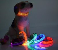 Wholesale solid color nylon dog collars for sale - Group buy Solid Color Nylon Band Dog Pet Led Flashing Collar Night Light Up Led Necklace Adjustable S M L XL Various Colors b499