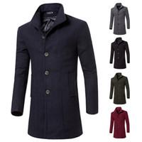 ingrosso cappotto di lana-2017 di alta qualità trench coat top uomo autunno stile doppio petto trench coat panno di lana tessuto lungo mens