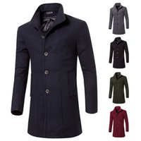 yünlü kumaş palto toptan satış-2017 Yüksek Kaliteli Trençkot Erkekler Sonbahar Tarzı Kruvaze Trençkot Yün Bez Kumaş Uzun Mens Tops