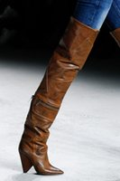 female boots leather over knee 2018 - The Newest 2018 Woman Designer Shoes Ladies Sexy Metal Zipper Motorcycle Boots Female Spike Heels Patchwork Dress Runway Shoes