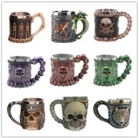 Wholesale Cool Decks - Eye-catching Double-deck Stainless Steel Mugs Party Creative Drinking Glass 3D Skull Skeleton Cool Wine Glasses Whisky Glasses