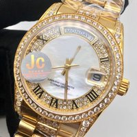 Wholesale pearl watch men online - Luxury Brand New Style JC Factory Rol Automatic Watch Men DAY DATE Pearl Dial Full Gold Diamond Band Sport Watch