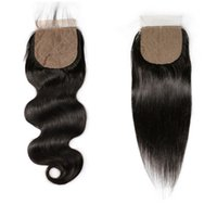 Wholesale human hair side part for sale - Group buy Silk Base Closure Straight Body Wave Brazilian Virgin Human Hair Closure Silk Top Closures With Baby Hair Middle Side
