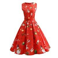 5cbc194b8 Venta al por mayor 2018 vestido de la víspera de Navidad Señoras vestido de  la vendimia elegante de las mujeres sin mangas largo más tamaño maxi  vestidos de ...