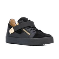 Wholesale Italian Black Leather Sneakers Men - Italian designer zanotty brand men casual shoes brand new women white color with Metal decoration Double zipper GZ35 low cut sneakers