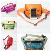 Wholesale travel purses - Rainbow PVC Laser Transparent Travel Fanny Pack Colors Hologram Bum Women Purse Waist Bag Mountaineering Belly Bag OOA5213
