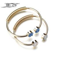 белое золото индийских ювелирных изделий оптовых-BIG J.W Personalized Trendy Bangle Fashion Gold Color Bangle Bracelets  Jewelry Blue White Pink Green Crystal Open Cuff