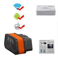 obdii leitor iphone venda por atacado-Vgate iCar2 WI-FI Universal ELM 327 V2.1 Scanner de Leitor de Carro OBDII ELM327 WI-FI OBD2II OBD2 EOBD Ferramenta de Verificação Automática para IOS iPhone ipad Android