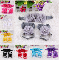 Wholesale baby girl foot flowers resale online - colourful foot flower barefoot sandals headband set for baby infant girls toddler baby girls flower headbands foot flower hairband colors