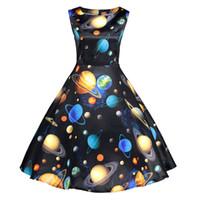 Wholesale dresses galaxy - 2018 new women's universe space galaxy colorful planets print dress 1950s vintage retro rockabilly dress sundress summer vestido