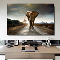 Wholesale abstract elephant painting resale online - Modern Home Decor Wall Art Pictures For Living Room Pieces Animals Elephant Posters HD Print On Canvas Paintings Artworks