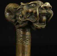 ingrosso canne da passeggio intagliati-WBY914 +++ Cina Vecchio lavoro Han Carving Bronze Dragon Statue Cane Head Walking Stick