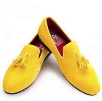 vestido de cuero amarillo al por mayor-Promoción de terciopelo amarillo borla hombres visten zapatos de boda para eventos forro de cuero del dedo del pie redondo envío gratis tamaño EE.UU. 7-14