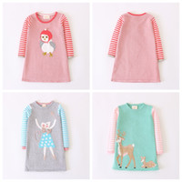 Wholesale dear party - Everweekend Kids Girls Spring Autumn Cartoon Knitted Sweater Party Dresses Candy Color Mouse Chicken Dears Christmas Dress