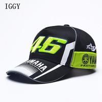 sombreros de carreras de motos al por mayor-Iggy alta calidad Moto Gp 46 motocicleta 3d bordado F1 Racing Cap hombres mujeres Snapback Caps Rossi Vr46 gorra de béisbol Yamaha sombreros