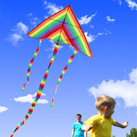 Wholesale wheel flying toy for sale - Group buy Colorful Rainbow Kite Long Tail Nylon Outdoor Kites Flying Toys For Children Kids Stunt Kite Surf With Control Bar and Line