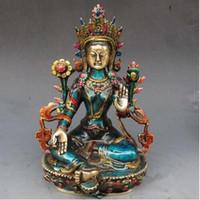 antike messing buddha-statue großhandel-FREIES VERSCHIFFEN Bronzefabrik Pure Brass Antique 8,66 Zoll Exquisite handgeschnitzte Cloisonne buddhistische Buddha grüne Tara Statue