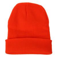 ingrosso cappelli di cranio arancioni-Cappello Berretto invernale da sci Berretto in maglia caldo (arancione brillante)