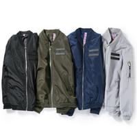 Wholesale mens flight jackets - Bomber Jacket Streetwear Men Plus Size 4XL Mens Flight Jacket Slim Fit Letter Zipper Jacket Male Youth Casual