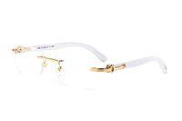 beyaz tarz gözlükler toptan satış-Yeni Stil lüks Ahşap Beyaz Manda Boynuzu Gözlük Erkekler Vintage Güneş Dekor Ahşap Bambu Bacaklar Çerçeveleri Kırmızı Kutu Ile Gel