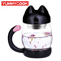 Wholesale Clear Travel Cup - 420ml Cute Cat Glass Mug With Filter Coffee Tea Drinkware Cup Outdoor Travel Wholesale Cooking Kitchen Gadgets Accessories