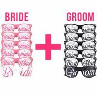 Wholesale bridal masks for sale - Group buy 12pcs Wedding Sunglasses Mask Groomsman Bridesmaid Team Bride Groom Party Sunglasses Wedding Party Bridal Shower Props Favor