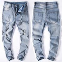 intervalos de luz venda por atacado-Kanye High Streetwear Homens Buracos Quebrados No Joelho Demin High Elastic Slim Fit Jeans Light Blue Leggings
