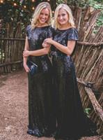 vestido de dama de honor azul oscuro real al por mayor-NUEVA LLEGADA Cap Sleeves Dark Royal Blue Dama de honor Vestidos con lentejuelas Backlesses vestidos largos para la fiesta de la boda