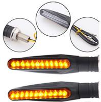 Wholesale led lighting parts - Universal 12 LED Motorcycle Turn Signals Lights Motorbike Indicator Blinkers Amber Light Lamp 12v Motorcycle Lights Parts Bendable