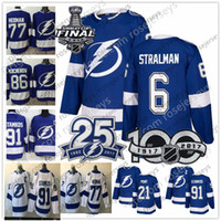 Wholesale cupping points - Tampa Bay Lightning #6 Anton Stralman 13 Cedric Paquette 17 Alex Killorn 21 Brayden Point Blue White 2018 Stanley Cup 25th Patch Jerseys