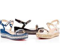super zapatos de la boda al por mayor-Zapatos de mujer de la boda de Super calidad tacones altos Pyraclou sandalias de fondo rojas para mujeres cuñas sandalias planas 35-42