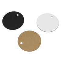 etiquetas para colgar la ropa al por mayor-500 Unids / lote Diámetro 5.5 cm Circular Kraft Etiqueta de Swing Tarjetas de Felicitación de Boda para Marcadores de Ropa Etiqueta Colgante con Agujero
