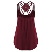 Wholesale wholesale tunic tees for sale - New Fashion Backless Strappy Bandage Tank Tops Women T Shirt Sexy Sleeveless Loose Tunic Tee Camisole Casual Ladies Solid Camis