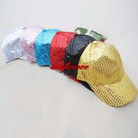 головные уборы оптовых-New Sequins Baseball Ball Cap Hat Adjustable Black One Size for Children Adult Hats Party Christmas