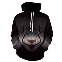 sudadera moda mujer talla grande al por mayor-2018 Moda Nueva Horror Movie Clown Hoodie 3d Skull Sweatshirt Plus Sportswear Chándal Hombres Mujeres Unisex Pullover Tamaño S-6XL