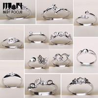 925 splitter schmuck großhandel-Perle Ring Einstellungen 925 Splitter Ringe für Frauen 20 Arten MIX DIY Ringe Einstellbare Größe Schmuck Einstellungen Weihnachtsgeschenk Aussage Schmuck